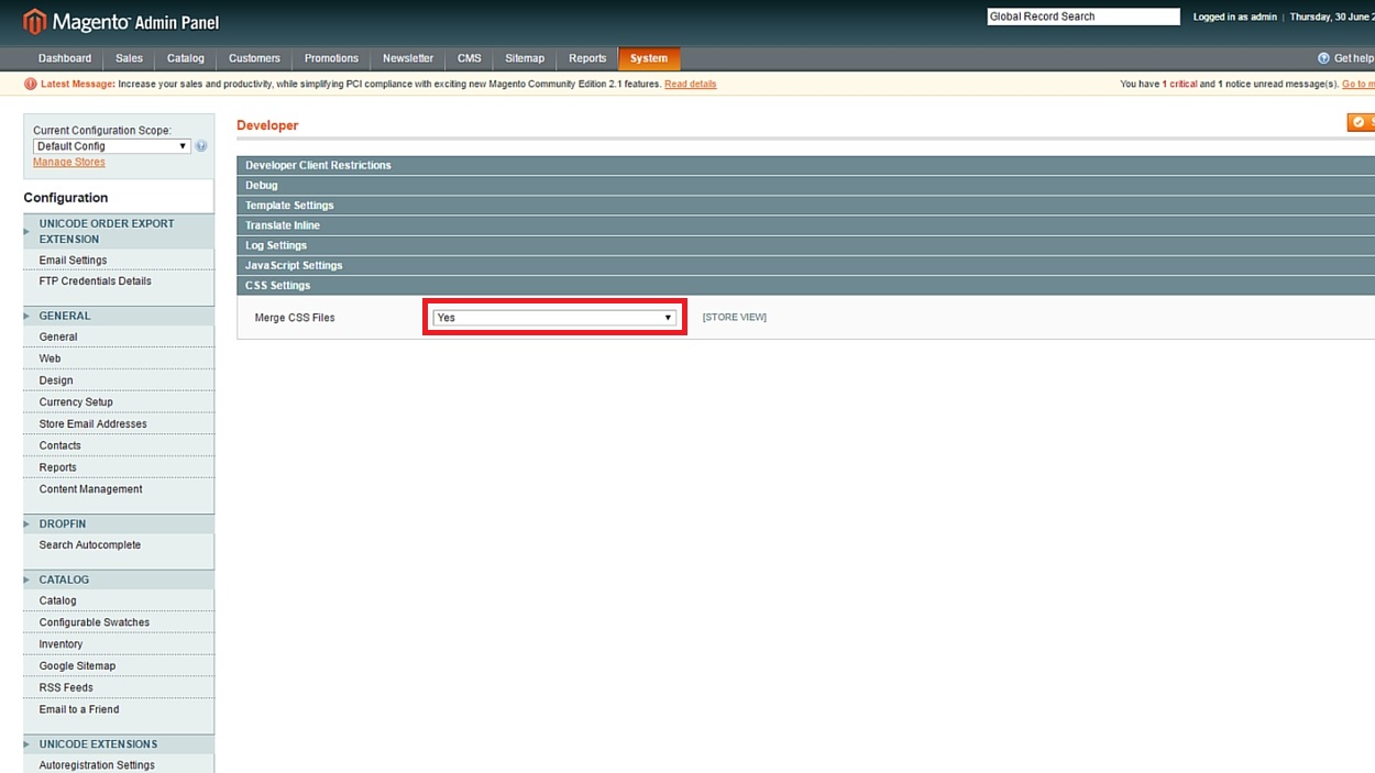 Magento Merge CSS Files